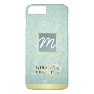 Elegant Monogram Faux Gold Turquoise Damask Floral iPhone 8 Plus/7 Plus Case