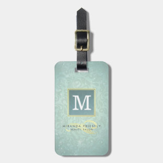 Elegant Monogram Faux Gold Turquoise Damask Floral Luggage Tag