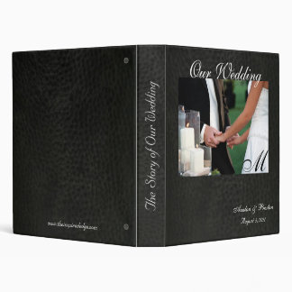 Elegant Monogram Faux Leather Wedding Album Binder