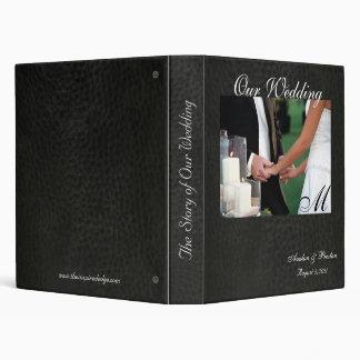 Elegant Monogram Faux Leather Wedding Album Binders