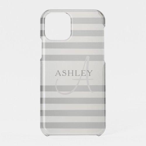 Elegant Monogram Faux Silver Gradient Grey Stripes Phone Case