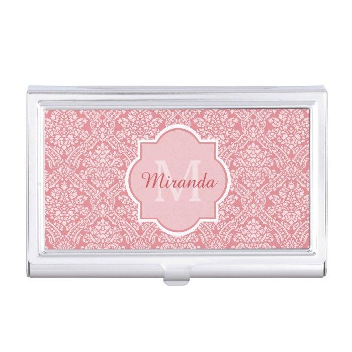 Elegant monogram feminine pink damask with name case for for Feminine business cards