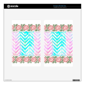 Elegant Monogram Floral pink and blue Decal For Kindle Fire