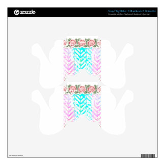 Elegant Monogram Floral pink and blue Decal For PS3 Controller