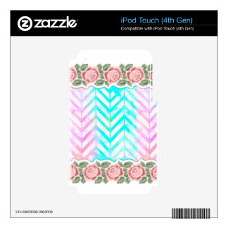 Elegant Monogram Floral pink and blue Decals For iPod Touch 4G