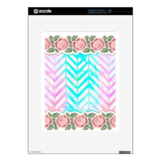 Elegant Monogram Floral pink and blue Decals For The iPad