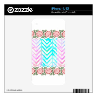 Elegant Monogram Floral pink and blue Decals For The iPhone 4S