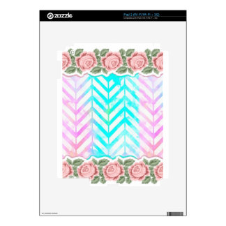 Elegant Monogram Floral pink and blue iPad 2 Skin