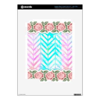 Elegant Monogram Floral pink and blue iPad 3 Decal