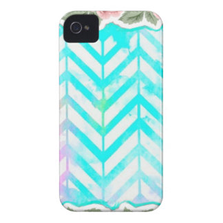 Elegant Monogram Floral pink and blue iPhone 4 Cover