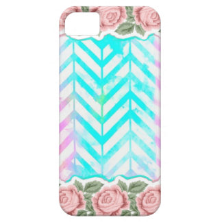 Elegant Monogram Floral pink and blue iPhone SE/5/5s Case
