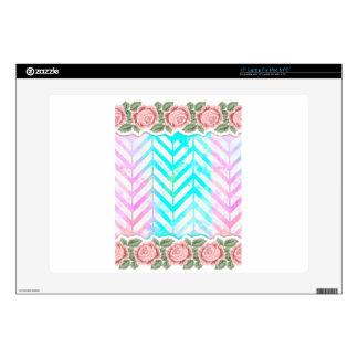 Elegant Monogram Floral pink and blue Laptop Skin