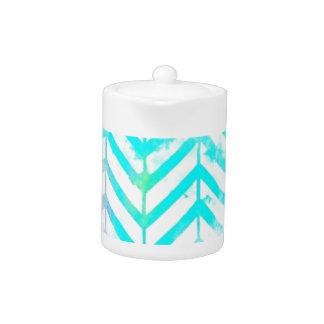 Elegant Monogram Floral pink and blue Teapot