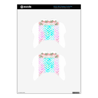 Elegant Monogram Floral pink and blue Xbox 360 Controller Decal