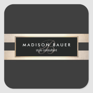 Elegant Monogram Gold and Black Striped Square Sticker