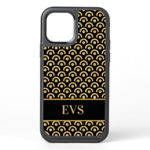 Elegant Monogram Gold Black Art Deco OtterBox Symmetry iPhone 12 Case