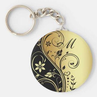 Elegant Monogram Gold  Flower Scroll Keychain