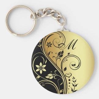 Elegant Monogram Gold  Flower Scroll Keychain