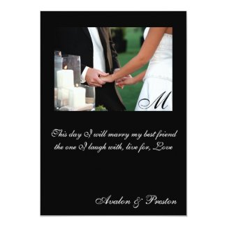 "Elegant Monogram Holding Hands Wedding Invitation 5"" X 7"" Invitation Card"