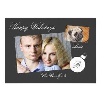 Elegant Monogram Holiday Photo Flat Card