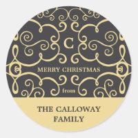 Elegant Monogram Holiday Sticker / Gold