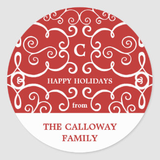 Elegant Monogram Holiday Sticker / Red