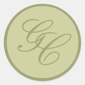 Elegant Monogram Initial Taupe Green Wedding Seal