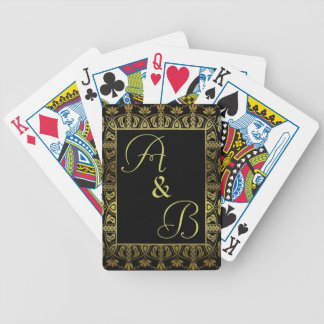 elegant monogram initialed playing cards deck gold
