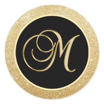 Elegant Monogram Letter M Black Gold Glitter Seals