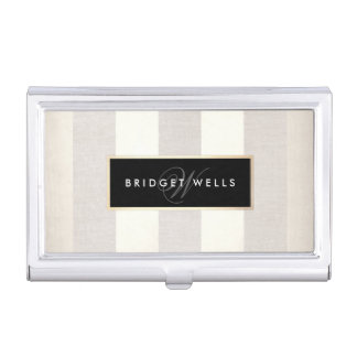 Elegant Monogram Linen and Silver Striped Pattern Case For Business Cards