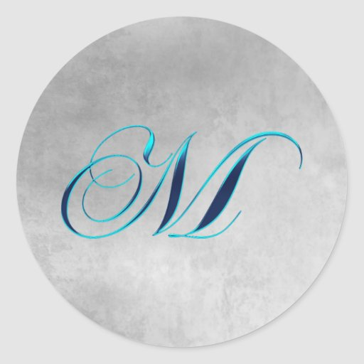Elegant Monogram M Bridal Sticker