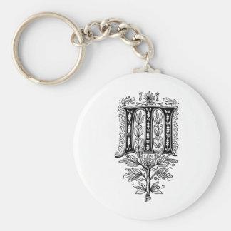 Elegant Monogram M Fancy Letter Basic Round Button Keychain