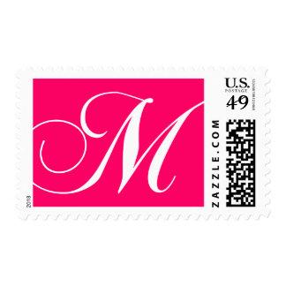 Elegant Monogram M Postage Stamps Hot Pink