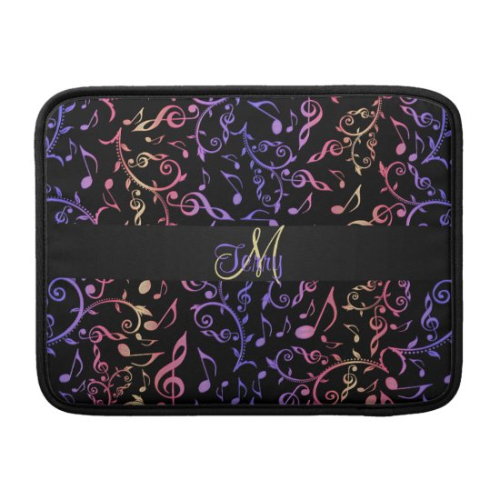 Elegant Monogram Music Notes MacBook Air Sleeve