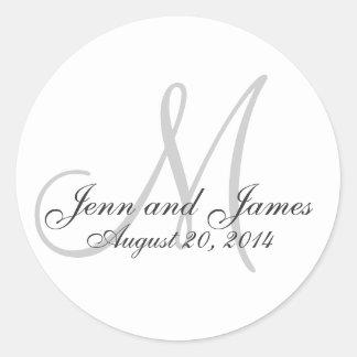 Elegant Monogram Names Date Wedding Favour Sticker