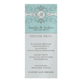 Elegant Monogram Names Wedding Menu Card Silver