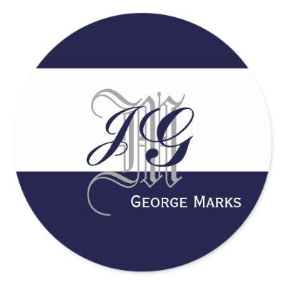 Elegant Monogram Navy White Grey Wedding Seal Sticker by ElegantMonograms