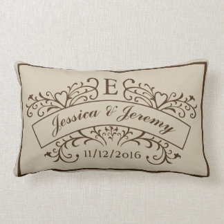 Elegant Monogram Newly Weds Lumbar Pillow