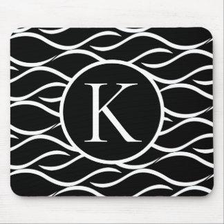 Elegant Monogram on Black and White Wave Pattern Mouse Pad