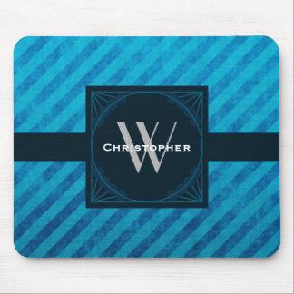 Elegant Monogram on Blue Diagonal Stripes Mouse Pad