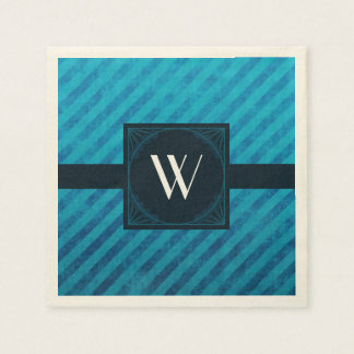 Elegant Monogram on Blue Diagonal Stripes Paper Napkin