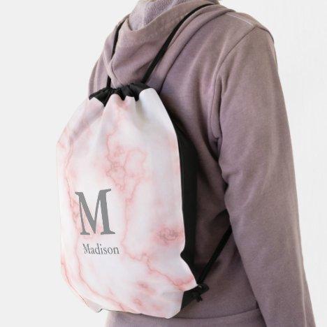 Elegant Monogram on Faux Pink Marble Drawstring Bag