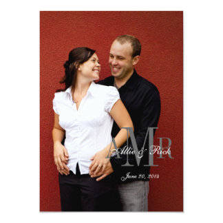 Elegant Monogram Photo Wedding Invitation Back 2
