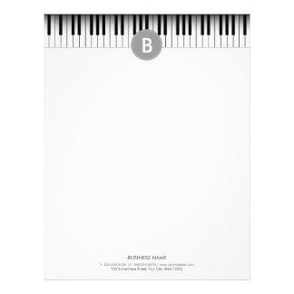 Elegant Monogram Piano Keys Letterhead