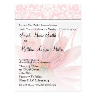 Elegant Monogram Pink Daisy Wedding Invitation Postcard