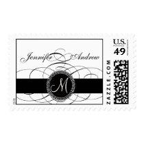 Elegant Monogram Postage Stamp for Weddings Swirls