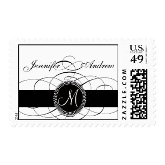 Elegant Monogram Postage Stamp for Weddings Swirls