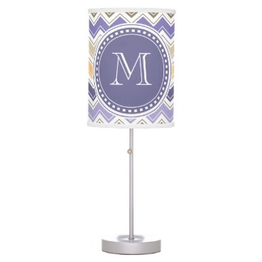 Beach Themed Elegant Monogram Purple Lilac Chevrons Desk Lamp