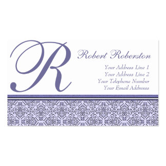 Elegant Monogram R Lilac Purple Pattern Business Card Template
