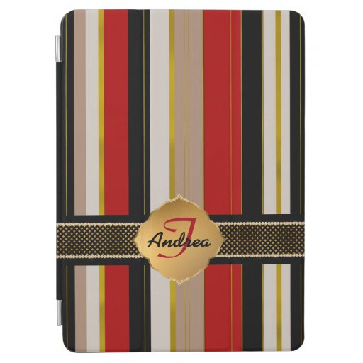 Elegant monogram red black stripes gold accents iPad air cover